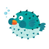 Blue Blowfish cartoon character. Stock Photography