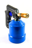 Blue blowtorch. Used blowtorch gaslight with blue gas tnak isolated on white Royalty Free Stock Photos