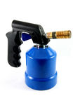 Blue blowtorch. Used blowtorch gaslight with blue gas tnak isolated on white Royalty Free Stock Photo