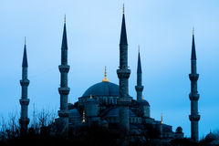 Blue Blue Mosque. The Blue mosque is a historical mosque in Istanbul, the largest city in Turkey and the capital of the Ottoman Empire (from 1453 to 1923). The Royalty Free Stock Images