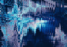 Blue blurred abstract background texture with horizontal stripes. glitches Stock Photography