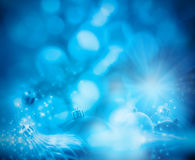 Blue blurred Christmas background Royalty Free Stock Images