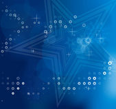 Blue blurry abstract Christmas backgrounds with white stars Stock Image