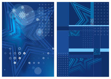 Blue blurry abstract Christmas backgrounds with white stars Stock Images