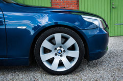 Blue BMW E60 545 i Royalty Free Stock Images