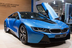 Blue BMW i8 hybrid Geneva Motor Show 2015 Royalty Free Stock Photos