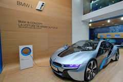 Blue BMW i8 concept Stock Images