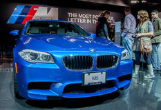 Blue BMW M5. Photo Taken at Chicago Auto Show in 2012 stock photos