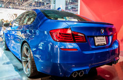 Blue BMW M5. Photo Taken at Chicago Auto Show in 2012 stock images