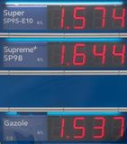 Blue board with price of gasoline petrol, written in red. Close up. Blue board with prices of gas petroleum, written in red. Oil petrol energy in Europ, France stock image