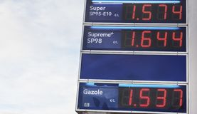 Blue board with price of gasoline petrol, written in red. Close up. Blue board with prices of gas petroleum, written in red. Oil petrol energy in Europ, France royalty free stock images