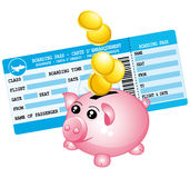 Blue boarding pass and piggy bank icon. Royalty Free Stock Images