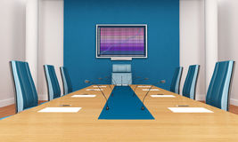 Blue boardroom. Blue and white boardroom - rendering - the image on screen is a my composition Royalty Free Stock Images