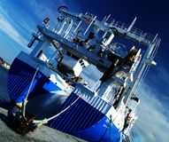 Blue boat. Over blue sky Royalty Free Stock Images
