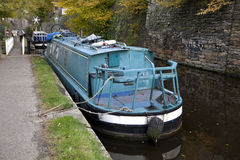 Blue boat. Spring Branch Canal in Skipton UK Royalty Free Stock Images