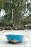 Blue boat. A single blue coloured boat waiting for the tide to come in Stock Photography
