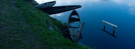 Blue boat Royalty Free Stock Photography
