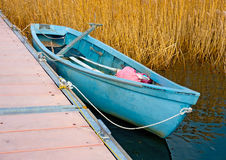 Blue boat in the Lake Royalty Free Stock Images