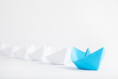 Blue Boat Leadership Concept on White Background Stock Images