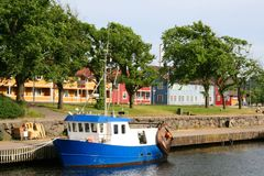 Blue Boat in Moss, Norway. Blue boat on the Moss canal, eastern Norway Stock Photography