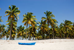 Blue boat on the Pangane Beach. Mozambique Royalty Free Stock Photos