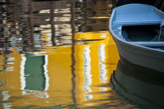 Blue boat and reflection, Burano, Italy Royalty Free Stock Photography
