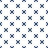 Blue Boat`s Wheel , Seamless Pattern. Ship`s Wheel , Seamless Maritime Pattern , Blue Boat`s Wheel on White Background , Vector Illustration Stock Photos
