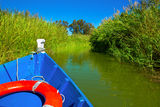 Blue boat sailing in Albufera lake of Valencia Royalty Free Stock Photography