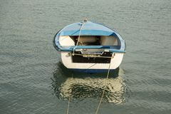 Blue boat at the sea Royalty Free Stock Photography
