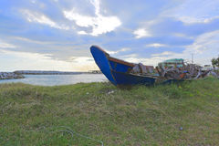 Blue boat on the sea Royalty Free Stock Photography