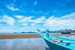 Blue boat and sea in summer. royalty free stock photos