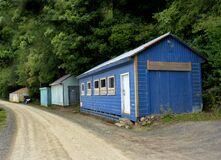 The Blue boat shed. Port Chalmers. Dunedin. Stock Image