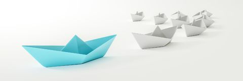 A blue boat and some white. 3d illustration of a blue boat and some white Royalty Free Stock Photography