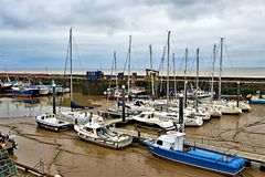 Blue boats, in Bridlington Harbour, in Easter 2019. royalty free stock photos