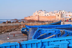 Blue boats in Essaouira. Old Portuguese city in Morocco Royalty Free Stock Photos