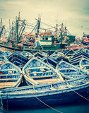 Blue boats of Essaouira, Morocco Royalty Free Stock Photo
