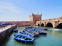 Blue boats in Essaouira, Morocco Royalty Free Stock Photography