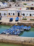 Blue boats in Essaouira, Morocco Stock Images