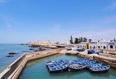 Blue boats in Essaouira, Morocco Stock Image