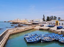 Blue boats in Essaouira, Morocco Royalty Free Stock Images