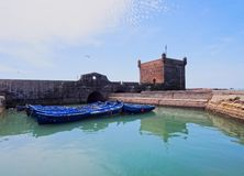 Blue boats in Essaouira, Morocco Royalty Free Stock Photo