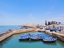 Blue boats in Essaouira, Morocco Royalty Free Stock Image