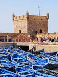 Blue boats in Essaouira, Morocco Royalty Free Stock Photos