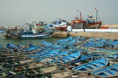 Blue boats in Essaouira port Stock Photo