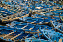 Blue boats in harbor Royalty Free Stock Photos