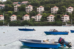 Blue Boats and Pink Resorts Royalty Free Stock Photography
