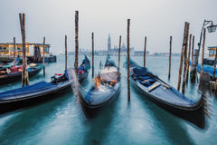 Blue boats of Venice Royalty Free Stock Images