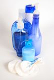 Blue bodycare set. Assortment of body care and hygiene items royalty free stock photo