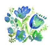 Blue boho style floral rustic hand drawn illustration. Royalty Free Stock Image