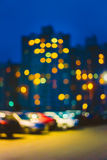 Blue Boke Bokeh Lights Urban City Background. Blue Boke Bokeh Lights Urban City Defocused Background Stock Photo